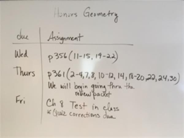 Honors Geometry Test