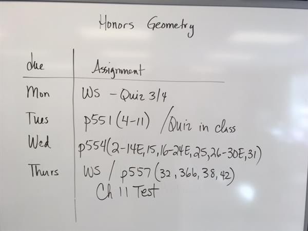 Millburn Middle School 8th Grade / Honors Geometry